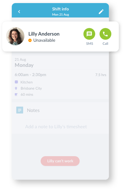 Scheduling App Shift View